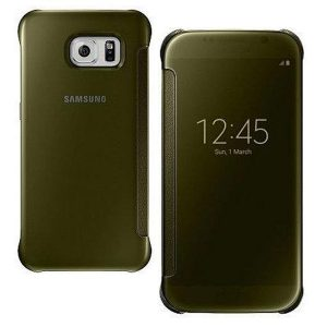 Genuine Samsung Galaxy S6 G920F Clear View Flat Back Premium Cover Case Gold