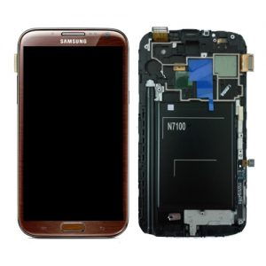 SAMSUNG Galaxy Note2 N7100 Complete Genuine Lcd Screen Digitizer GH97-14112C - Amber Brown