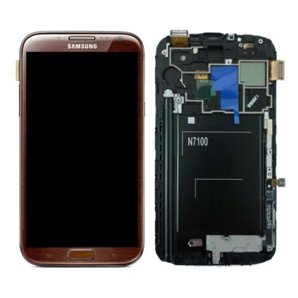 SAMSUNG Galaxy Note2 N7100 Complete Genuine Lcd Screen Digitizer GH97-14112C - Amber Brown