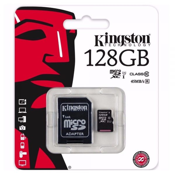 Kingston Micro-SD 128GB Memory Card with Adapter