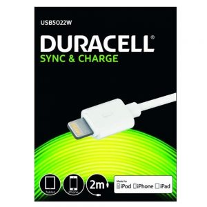 Duracell Sync and Charge 2m Cable for iPhone iPod iPad
