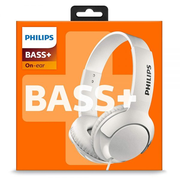 Philips Bass+ On-Ear Closed-Back Headphones SHL3070 in White