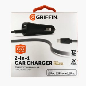 Griffin Power Jolt Dual Port In Car Charger With Lightning Connector For iPhones 12W