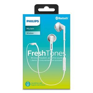 Philips FreshTones Wireless Bluetooth Earphones With Microphone White SHB5250WT