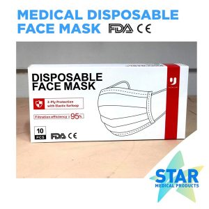 3-PLY Disposable Face Mask with Elastic Earloop Pack of 100PCS
