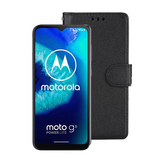 Wallet Flip Case For Motorola Moto G8 Power Lite | Colour: Black | Delivered in EU UK and rest of the world | Phoneparts |