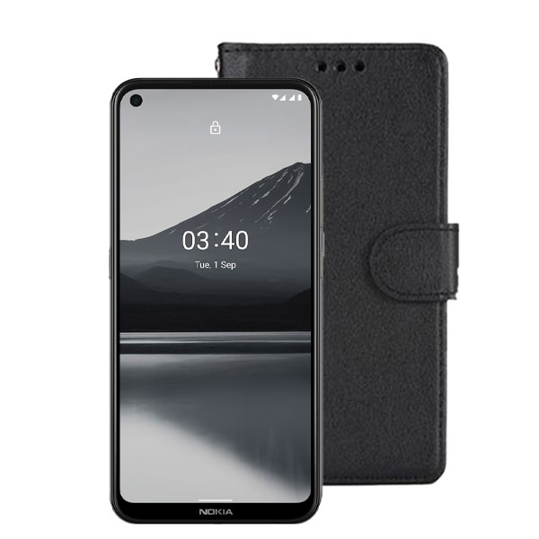 Wallet Flip Case For Nokia 3.4 | Colour : Black | Delivered in EU UK and rest of the world | Phoneparts Europe |