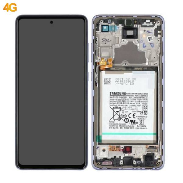 Genuine Samsung Galaxy A72 4G A725 Super Amoled Display With Battery Violet | Part Number: GH82-25541C | Phoneparts |