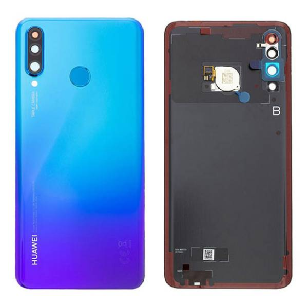 Genuine Huawei P30 Lite Battery Back Cover With Finger Print Sensor Blue   Part Number: 02352PMK   Delivered in EU UK and rest of the world  