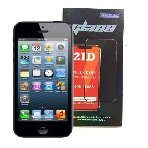 iPhone 5 5S Full Glue 21D Tempered Glass Screen Protector